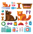 Domestic animals with their toys vector image