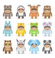Christmas costumes kids vector image
