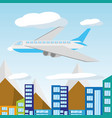 airplane flying around the beautiful city vector image