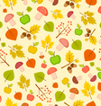 autumn seamless pattern with leaves and apples vector image