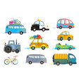 car bus taxi police truck bicycle clipart vector image