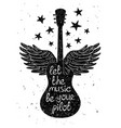 Hand drawn musical with silhouettes of guitar vector image