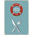 Retro Menu design for seafood restaurant variation vector image