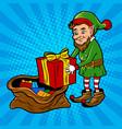 santa gnome and gift box pop art vector image