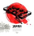 Sketch and watercolor Japanese background vector image