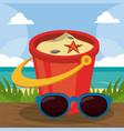 summer holidays - sunglasses bucket shovel sand vector image