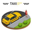 Taxi service 24h concept Young woman raising her vector image