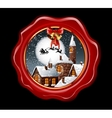 Christmas of wax seal with snowy town vector image