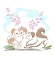 lovely little doggies in love vector image