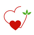 Hearts with leaves gathered in one place vector image