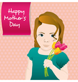 Girl with Flowers Mothers Day card vector image