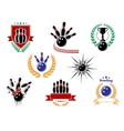 Set of colored bowling emblems and badges vector image vector image