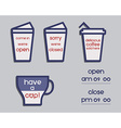 Coffee signs Open and Closed elements France 2016 vector image