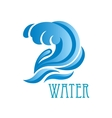 Blue wave with crest and flowing water drops vector image vector image