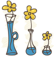 Flowers in vases set vector image