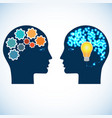 heads of two people with gears bulb and abstract vector image
