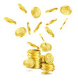realistic falling gold coins rain of money vector image