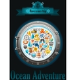 Sea sailing travel poster design on black vector image