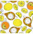 tea hand draw seamless pattern with teapot lemons vector image