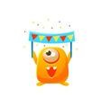 Orange Toy Monster With Party Banner vector image