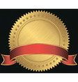 Golden blank label with red ribbon vector image vector image