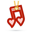 Heart shaped note sign Label tag hanging on golden vector image vector image