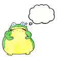 cartoon fat toad with thought bubble vector image