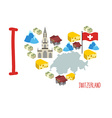 I love Switzerland Symbol heart of cheese and Alps vector image
