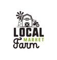 local farm market logo design and label template vector image