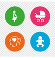 maternity icons baby infant pregnancy buggy vector image
