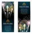 Set of fireworks festive vertical banner vector image