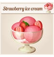 Strawberry ice cream Detailed Icon vector image