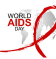 world aids day design of red ribbon and world map vector image