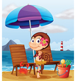 A monkey in a hawaiian attire at the beach vector image vector image
