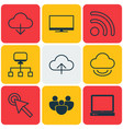 set of 9 internet icons includes team cursor tap vector image