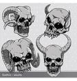 vintage skulls set vector image