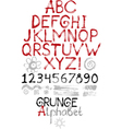 Hand drawn grunge alphabet vector image