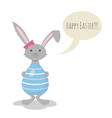 Cute Grey Easter Bunny holding Blue Easter Egg vector image