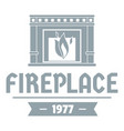 fireplace logo simple gray style vector image