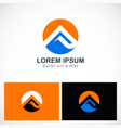 round triangle abstract mountain logo vector image