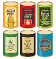 set of a tin cans with labels vector image