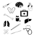 medical elements set isolated on white vector image