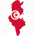 Map of Tunisia with national flag vector image vector image
