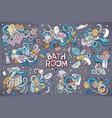 set of bathroom doodle designs vector image