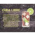 Cuba Libre cocktail with text description Retro vector image