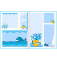 Paper design with sea animals vector image