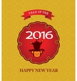 New Year postcard design gold text with monkey vector image vector image