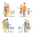 Families Grocery Shopping Together vector image