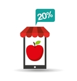 apple discount shop online icon vector image