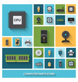 Computer Parts Decorative Icons Set vector image